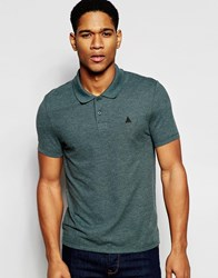Asos Pique Muscle Polo With Embroidery In Green Green