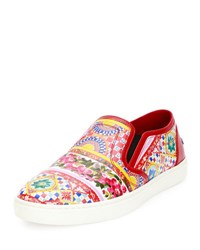 Dolce And Gabbana Carretto Print Leather Skate Sneaker Red