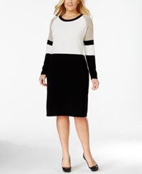 Calvin Klein Colorblocked Sweater Dress Beige