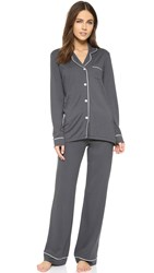 Cosabella Bella Long Sleeve Top And Pant Pj Set Anthracite