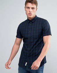 Jack And Jones Checked Shirt With Short Sleeves Black