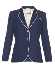Gucci Rope Piping Silk And Wool Blend Blazer Navy