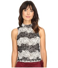 Kensie Two Tone Embroidered Lace Top Ks9k4232 Black Combo Women's Clothing