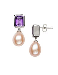 Lord And Taylor Sterling Silver Pink Freshwater Pearl Amethyst Earrings