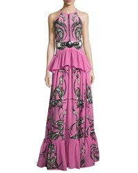 Roberto Cavalli Feather Print Peplum Tiered Gown Pink