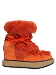 Paloma Barcelo 90Mm Lapin Fur And Suede Lace Up Boots