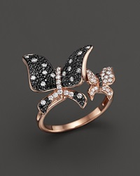 Bloomingdale's Black And White Diamond Butterfly Statement Ring In 14K Rose Gold Black White
