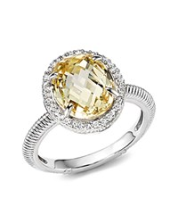 Judith Ripka Oval Pave Ring With White Sapphire And Canary Crystal Yellow Silver