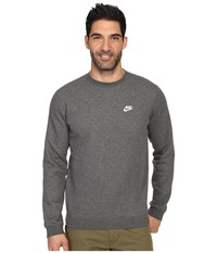 Nike Club Fleece Pullover Crew Charcoal Heather White Men's Fleece Gray