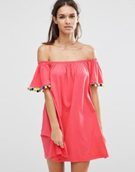 Asos Off Shoulder Swing Sundress With Bright Pom Poms Bright Pink