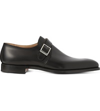 Crockett Jones Single Buckle Monk Shoes Black