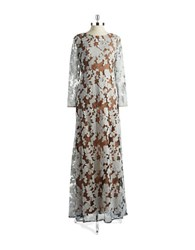 Vera Wang Lace Overlay Gown Ivory Nude