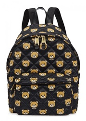 Womens Backpacks Moschino Bear Print Quilted Satin Backpack Black And Other