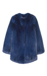 Pologeorgis Elektra Fox Fur Coat Blue