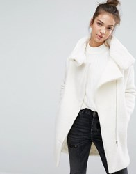 Pull And Bear Pullandbear Faux Fur Lined Zip Front Coat White
