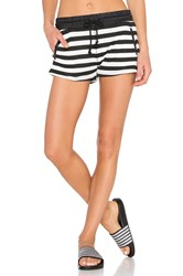 Solow Drawstring Lounge Short Black And White