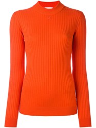 Courreges Ribbed Round Neck Sweater Red