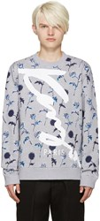 Kenzo Grey Floral Print Logo Pullover
