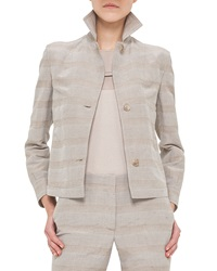 Akris Short Prince Of Wales Hemp Jacket Kraft