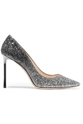 Jimmy Choo Romy Degrade Glittered Leather Pumps Silver