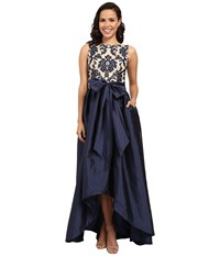 Adrianna Papell Embroidered Lace Taffeta Ball Gown Navy Nude Women's Dress Black