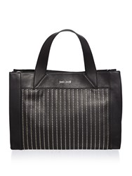 Just Cavalli Washed Calf Stud Black Medium Tote Black