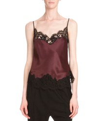 Givenchy Lace Trim Two Tone Camisole Burgundy