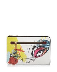 Marc Jacobs Large Collage Print Zip Pouch Off White