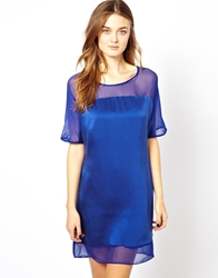Aryn K Silk Dress With Sheer Detail Royalblue