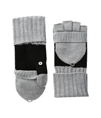 Calvin Klein Color Block Flip Top Gloves Heathered Mid Grey Black Extreme Cold Weather Gloves Gray
