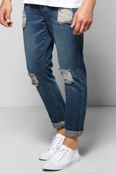 Boohoo Fit Ripped Denim Jeans Indigo