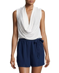 Neiman Marcus Cowl Neck Belted Short Jumpsuit White Navy