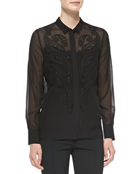 Escada Long Sleeve Sheer Paisley Front Blouse
