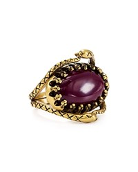 Rebecca Minkoff Snake Cocktail Ring Gold Purple