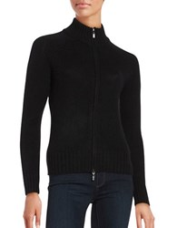 Lord And Taylor Petite Cashmere Zip Front Cardigan Black
