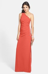 Women's Laundry By Shelli Segal Beaded Panel One Shoulder Jersey Gown Vintage Coral