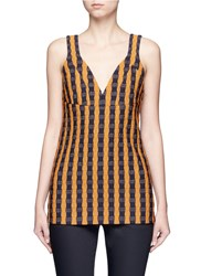 Victoria Beckham Wavy Gingham Check Print Sleeveless Top Multi Colour