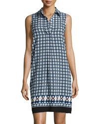 Max Studio Sleeveless Geometric Print Shift Dress Navy