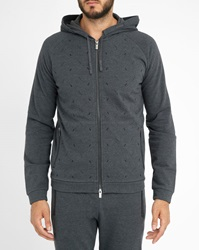 Armani Collezioni Charcoal Graphic Zipped Sweatshirt