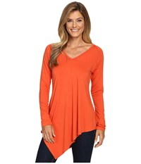 Karen Kane Asymmetrical V Neck Tee Pumpkin Women's T Shirt Orange