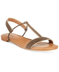 Styleandco. Style Co. Kristee T Strap Flat Sandals Only At Macy's Women's Shoes Olive