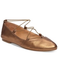 Lucky Brand Women's Aviee Elastic Lace Up Ballet Flats Women's Shoes Old Bronze