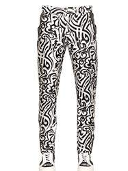 John Richmond 17Cm Printed Techno Gabardine Pants White Black