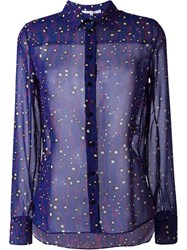 Carven Animal Print Semi Sheer Button Down Shirt Pink And Purple