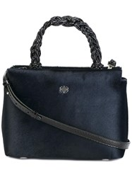 Marcel Seraphine Boxy Braided Top Handle Tote Blue