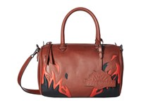 Just Cavalli Calf Leather With Fires Crossbody Brown