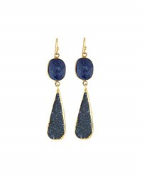 Nakamol Golden Agate And Druzy Double Drop Earrings Blue