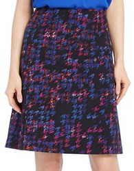 Ellen Tracy Colorful Houndstooth A Line Skirt Plaid Multi
