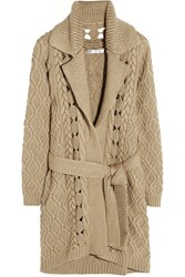 Oscar De La Renta Cable Knit Wool And Silk Blend Cardigan Brown