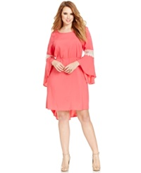 Love Squared Plus Size Bell Sleeve Crochet Trim Dress